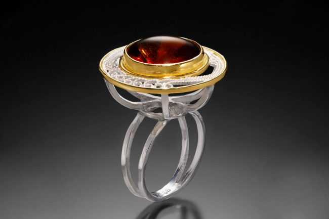 Coronation Ring II, Russian filigree 'dinner ring' by Victoria Lansford; photo by Pat Vasquez-Cunningham