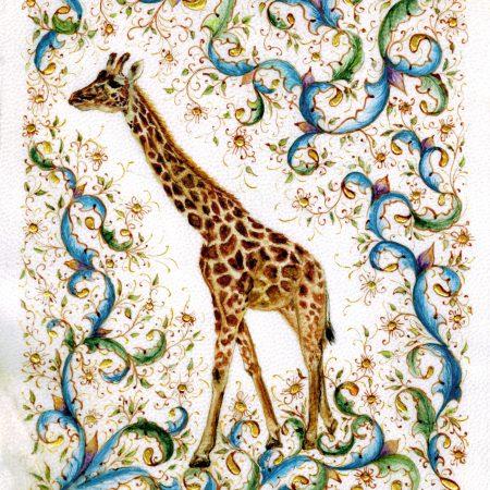 Harriet by Victoria Lansford, Medieval style miniature portrait of 'Harriet,' a Masai giraffe at San Diego Zoo