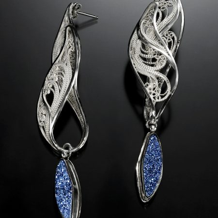 Glistening Flame, Russian filigree earrings by Victoria Lansford