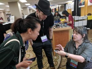 Demonstrating Eastern repousse at Rio's booth at SNAG Chicago, photo by Celina Zisman