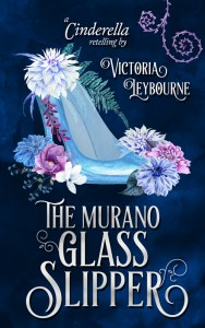 """the cover of """"the murano glass slipper: a cinderella retelling"""" by victoria leybourne. A watercolour image of a glass slipper surrounded by pink and blue flowers, on a dark blue background."""