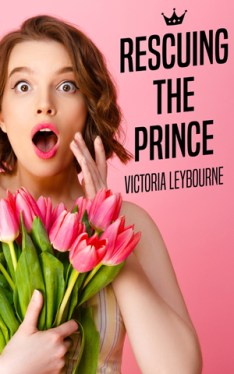 """the cover for """"rescuing the prince"""": a girl holds a bunch of pink tulips, looking surprised"""