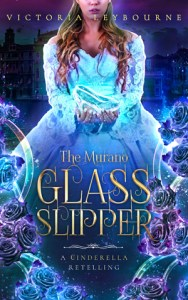 "the cover for ""the murano glass slipper"". A woman holds a glass shoe. A view of Venice can been seen behind her. The title is surrounded by glass tubes and blue roses."