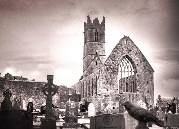 Infrared of Nevermore at the ruins of an abbey in Galway, County Clare.