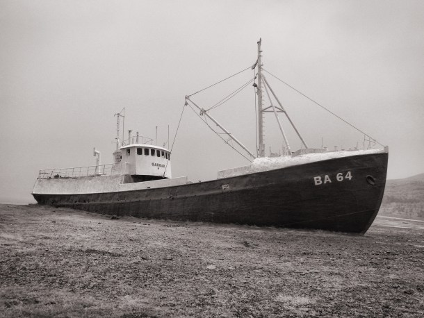 Garðar, the oldest steel ship in Iceland, built in 1912 and beached here in Skápadalur in 1981.