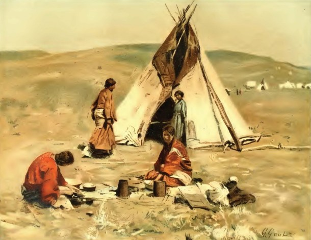 Gilbert Gaul's Sioux Camp, 1890