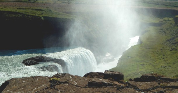 The mist at Gullfoss (golden falls) where the River Hvítá falls 105 feet into 1.5-mile ravine.