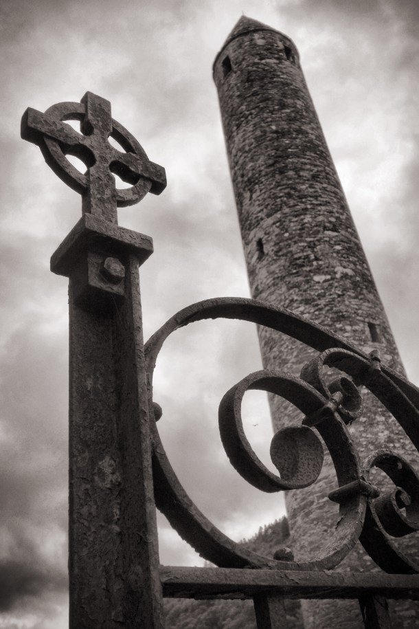 The round tower and graveyard fence at Glendalough, County Wicklow.