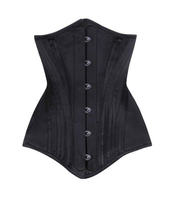 zwart satijn onderborst corset
