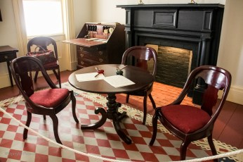 This furniture set is a reproduction of the original table that was used for writing the Declaration of Sentiments.