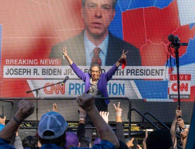 Celebrating Biden's victory
