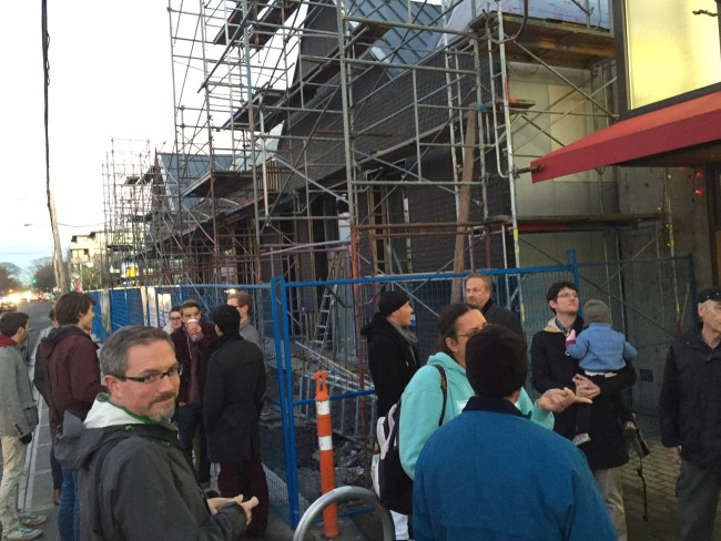 Gathering at the soon to be completed Red Barn Market.