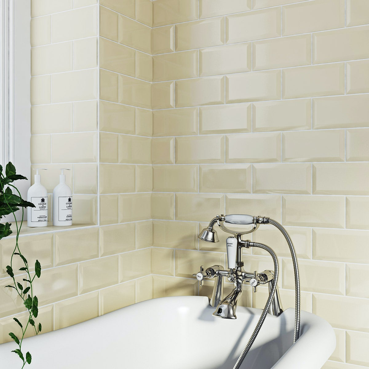 British Ceramic Tile Metro Bevel Cream Gloss Tile 100mm X