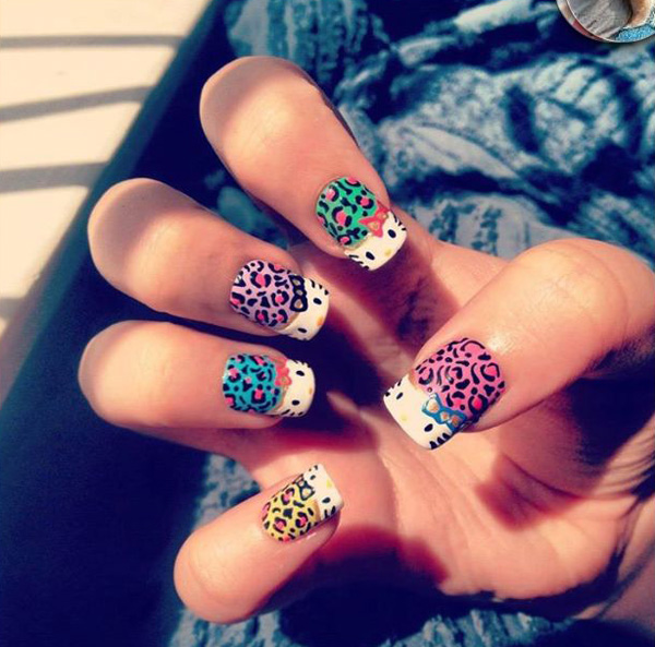 Leopard Spot Inspired In Bination With O Kitty And You Get These Dangerously Amazing Nail Art Fashion French Tipped Faces