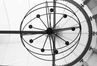 A lighting fixture in the waterfront tent