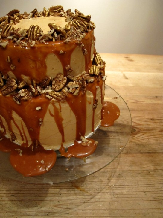 Salted Caramel, Golden Pecan and Chocolate Celebration Cake side view