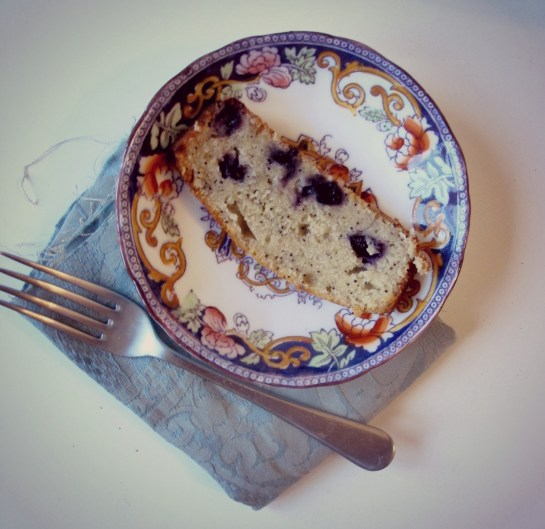 Slice of Blueberry Lemon Poppy Seed Banana Loaf