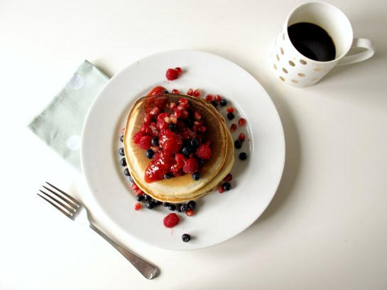 Brown Sugar Bejewelled Pancake Stack with Strawberry Vanilla Sauce