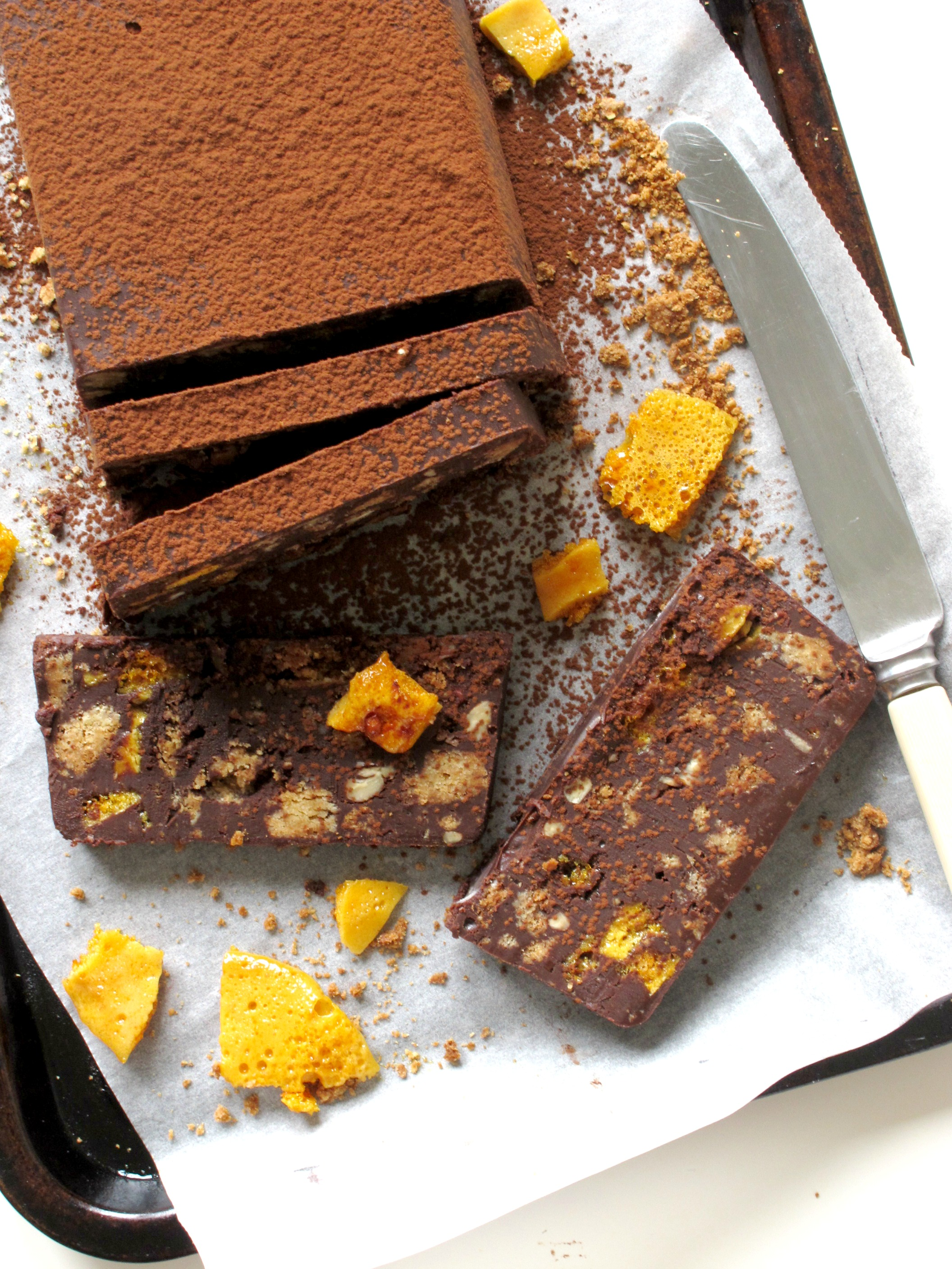 Bourbon Chocolate Honeycomb Biscuit Cake