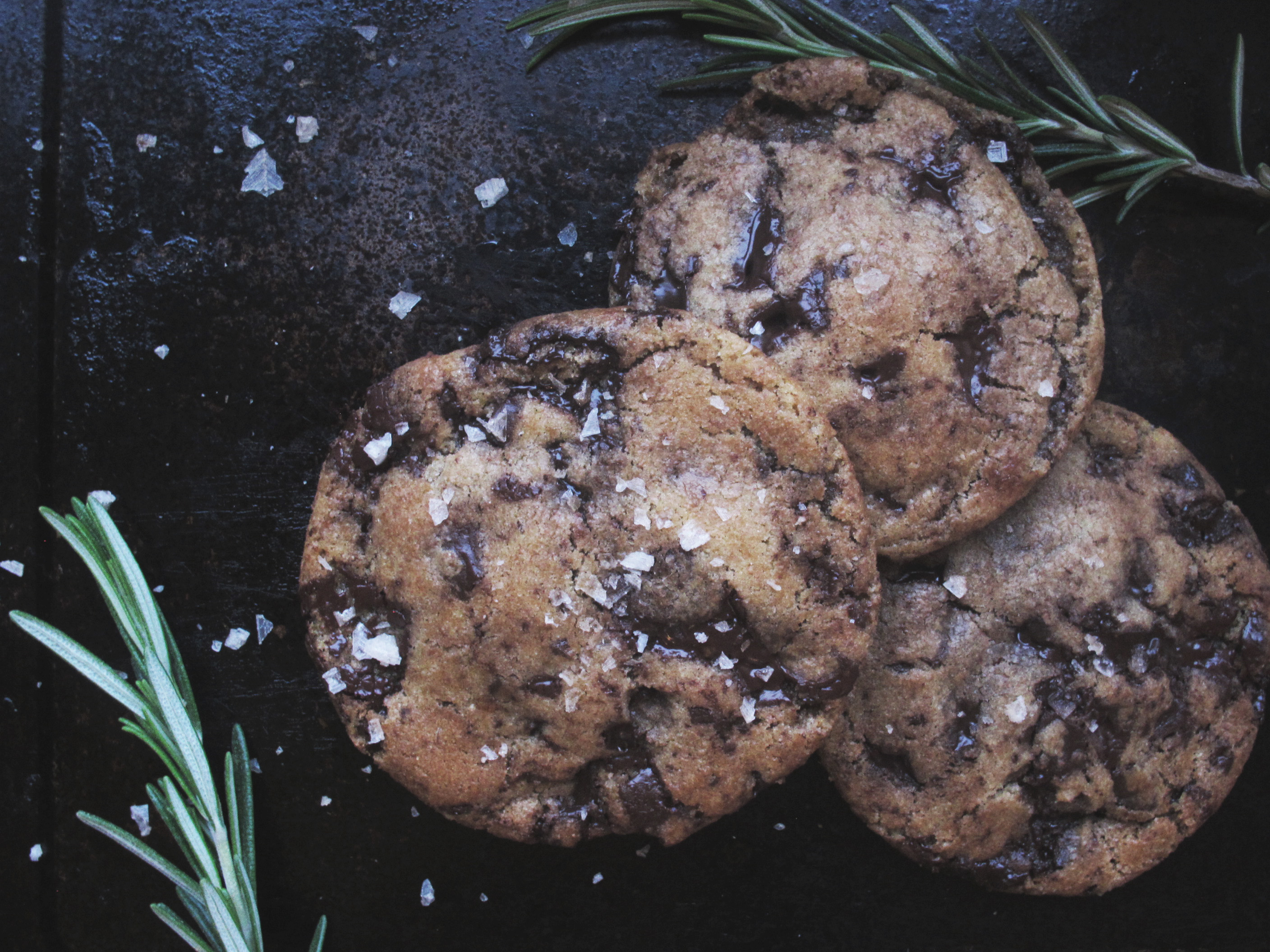 Rosemary Brown Butter Dark Chocolate Cookies with Smoked Salt