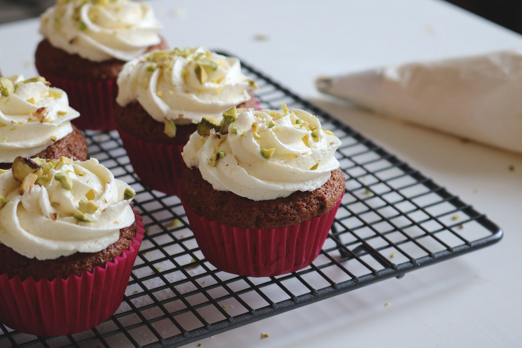 Pistachio and Carrot Cupcakes