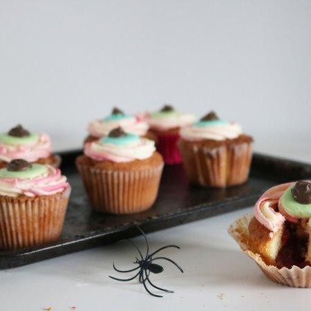 Gruesome Bloodshot Eyeball Cupcakes