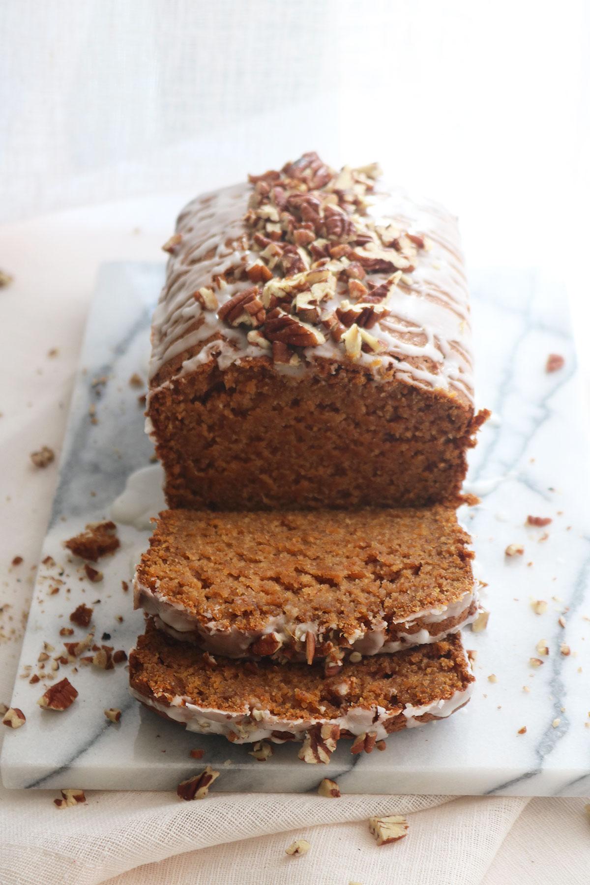 Spiced Sweet Potato Loaf with Vanilla Glaze