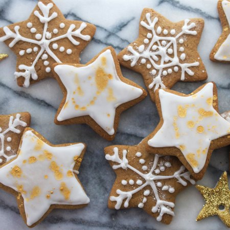 Spiced Gin Gingerbread Stars and Snowflakes