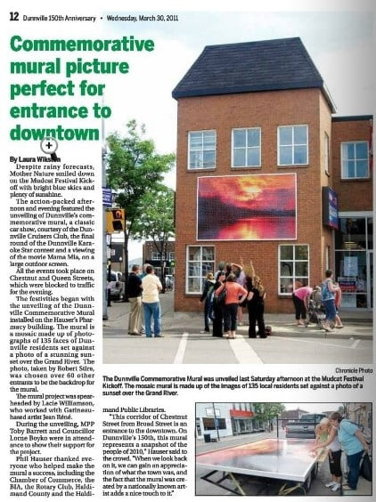facade improvement program creates a mural in Downtown Dunnville