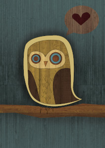 Image of cute owl in cut-out art on teal background.