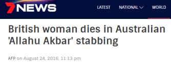 French man in Australia stabs British woman.
