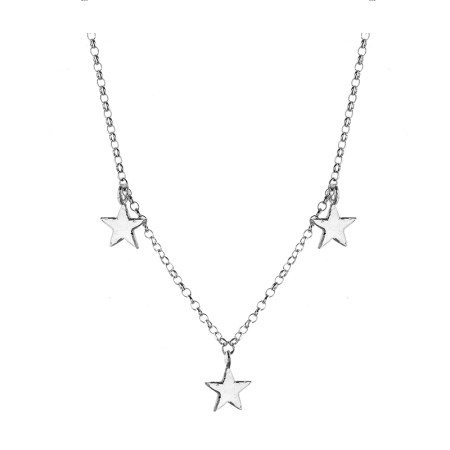 Three Star Silver Necklace