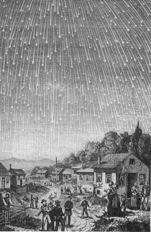 A vintage print of a village underneath a meteor shower. Villagers watch in awe.