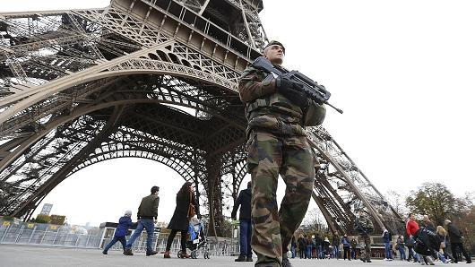 French Soldier On Patrol Under The Eiffel Tower