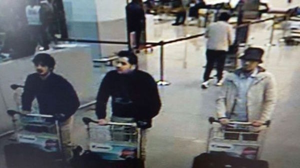 Three men who are suspected of taking part in the attacks at Belgium's Zaventem Airport. The man at right is still being sought by the police, while the two others were suicide bombers. Belgium had precise warning about attacks in advance.