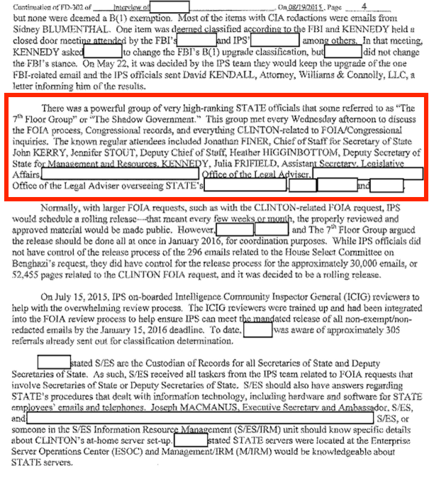 "Page 56 - FBI Files on Hillary's Emails Reveal ""Shadow Government"" Was in Charge of Her Investigation"