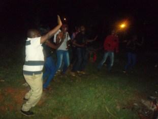 Teaching guys the Skelewu dance during the Bush party Season 3