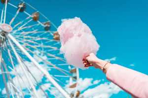 Cotton candy in front of ferris wheel