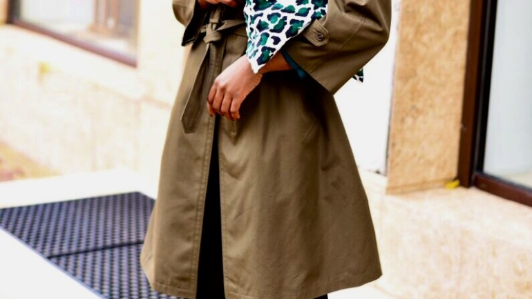 WORK TRENCH COAT X GREEN LEOPARD+STORY ON MY FIRST INCOME