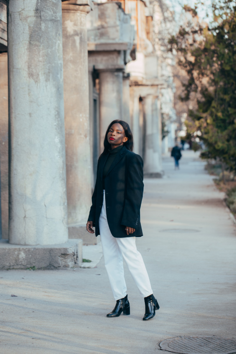 ways to style a black and white outfit