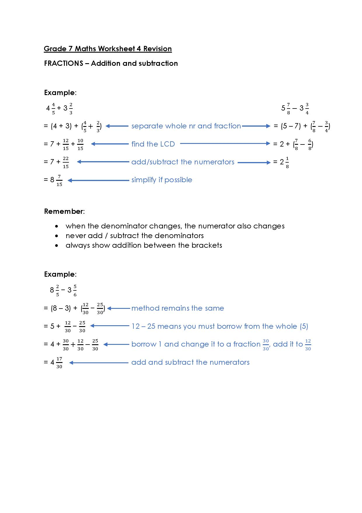 Grade 7 Maths Worksheet Victory House Senior Primary