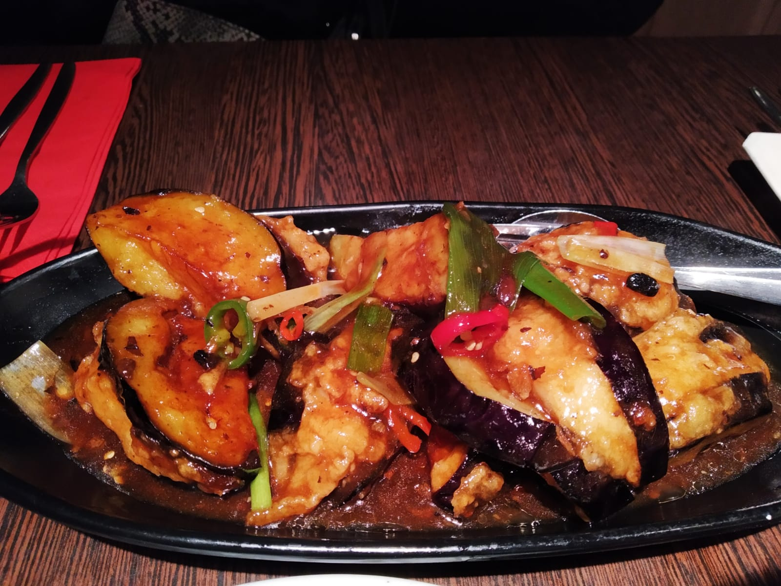 Hands down the best Black bean Eggplant and steamed fish