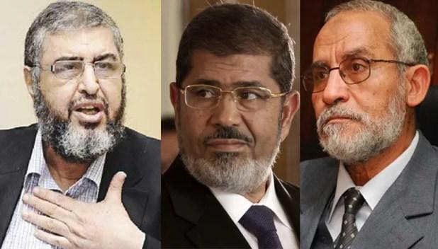 محمد بديع وخيرت الشاطر ومحمد مرسي