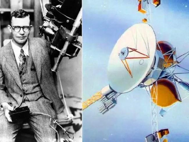 المسبار ، وصورة لكلايد تومبو ومنظاره الذي اكتشف به بلوتو في 1930 حين كان عمره 24 سنة