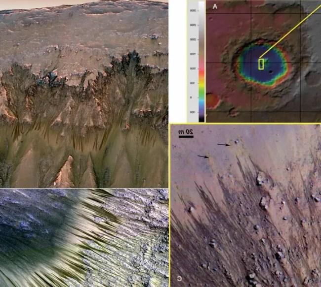الخطوط المتعرجة المتكررة في المريخ أكبر دليل على وجود مكامن عملاقة للماء تحت سطحه