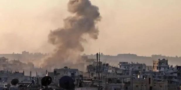 قصف سابق لقوات النظام على اللطامنة بريف حماة