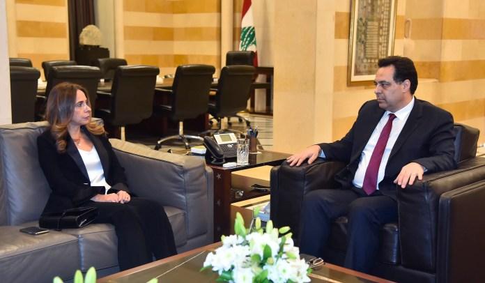 Zeina Akr Adra with Prime Minister Hassan Diab