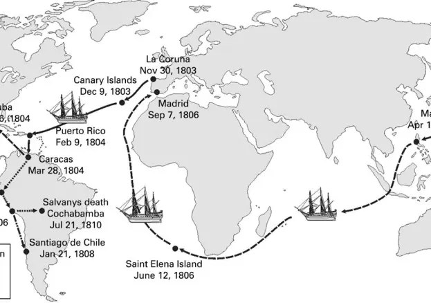An illustration of the route taken by the Belmes campaign