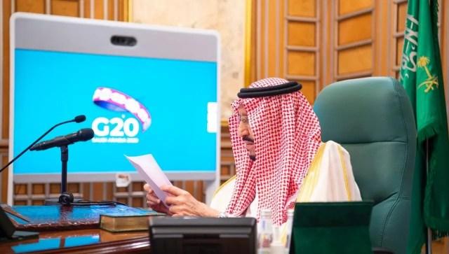 Saudi King Salman bin Abdulaziz attends via video link a virtual G20 summit on coronavirus disease (COVID-19), in Riyadh, Saudi Arabia. (SPA)