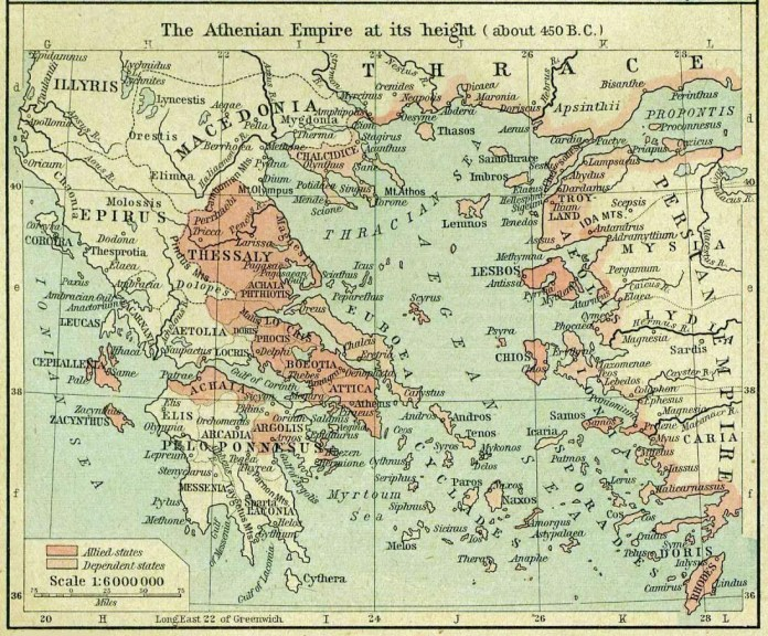 Athens and the territories under its influence in 450 BC